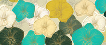 Orchid Background Vector. Luxury Golden Orchid Line Arts Design For Wallpaper, Wall Arts, Fabric, Prints And Background Texture, Vector Illustration.