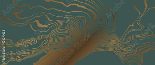 Obraz Luxury line art wallpaper. Green marble and gold abstract marbling background texture.  - fototapety do salonu