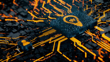 Innovation Technology Concept With Lightbulb Symbol On A Microchip. Orange Neon Data Flows Between The CPU And The User Across A Futuristic Motherboard. 3D Render.