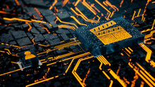 Entertainment Technology Concept With Movie Symbol On A Microchip. Orange Neon Data Flows Between The CPU And The User Across A Futuristic Motherboard. 3D Render.