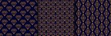 Set Of Three Gemstone Seamless Pattern In Minimal Trendy Style. Gold Linear Diamonds On A Dark Blue Background. Vector