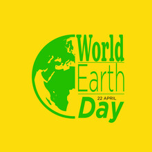 Typographic Design For Earth Day. Concept Poster With Green Leaves. Vector Template. With White Background.