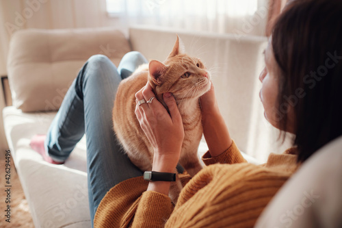 Fotografie, Obraz Young woman resting with pet in sofa at home.