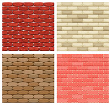 Set Of  Brick Wall Seamless Backgrounds. Realistic Color Brick Texture. Decorative Patterns For Loft Style. Different Color Brick Textures Collection
