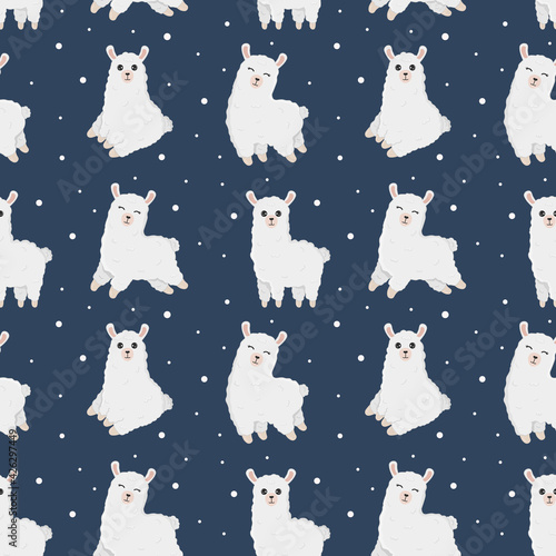 Fototapeta premium Seamless pattern with lamas made in vector. Good for wallpaper, greeting cards, children room decoration, etc. Cartoon alpaca on blue background.