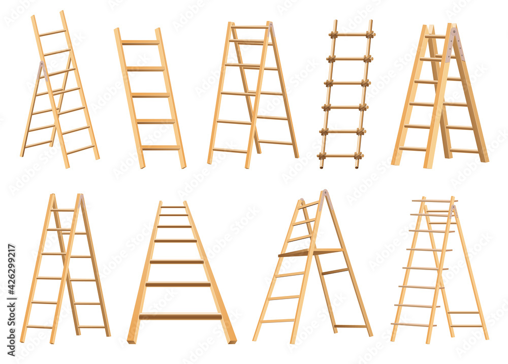 Fototapeta Set of wooden ladders household tool. Step ladders for domestic and construction needs. Isolated  illustration