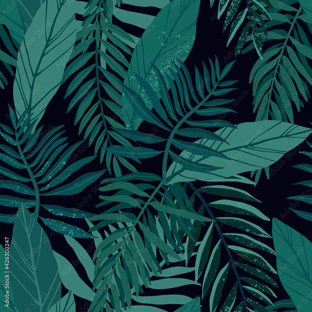 Fototapeta Seamless tropical pattern with exotic palm leaves and various plants on dark background.