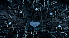 Love Technology Concept With Heart Symbol On A Microchip. White Neon Data Flows Between Users And The CPU Across A Futuristic Motherboard. 3D Render.