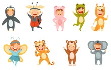 Little Boy And Girl Wearing Animal Costumes Waving Hand And Having Fun Vector Set