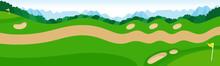 ゴルフコースのイラスト。山あり谷ありのゴルフコースとカート道の風景。