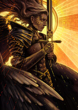 A Beautiful Male Angel With A Flawless Muscular Body Prays Holding A Huge Sword In His Hands Against The Background Of A Bright Divine Sun 2d
