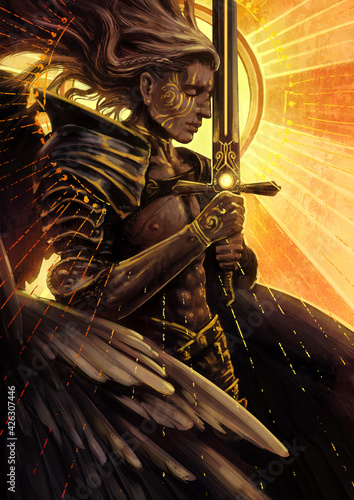 Vászonkép A beautiful male angel with a flawless muscular body prays holding a huge sword