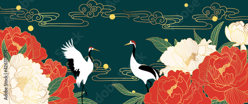 Obraz Luxury gold oriental style background vector. Japanese , Chinese oriental line art with red flower and golden texture, Swan bird and sun. Natural Wall arts for print and home decor. - fototapety do salonu