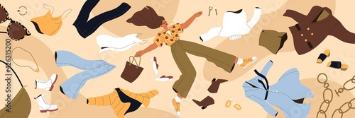 Obraz Woman shopaholic flying among clothes. Fast fashion, consumerism and overconsumption concept. Young lady with apparel, garment, purchases around. Colored flat vector illustration of wide banner - fototapety do salonu