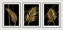 Luxury Gold Leaves Wallpaper. Black And Golden Background. Wall Art Design With Shiny Golden Palm Leaves. Modern Art Mural Wallpaper. Vector Illustration.