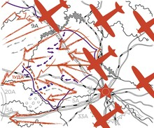 Map Of The World War 2 Offensive Of The Red Army And Flying Planes