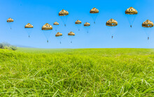 Largage De Parachutistes Sue La Prairie