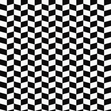 Checkered Seamless Wallpaper Or Pattern. Same Squares  Inclined. Black And White Vector Race Flag.