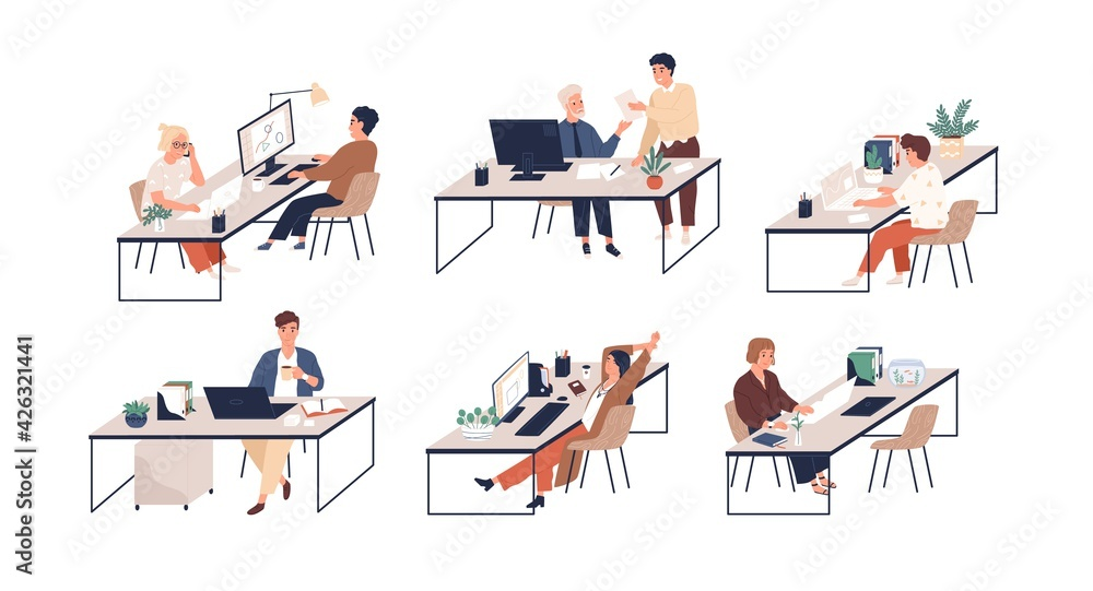 Fototapeta Set of people working with laptops and computers at modern office desks. Male and female employees at workplaces. Colored flat vector illustration of busy men and women isolated on white background