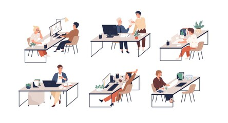 Set of people working with laptops and computers at modern office desks. Male and female employees at workplaces. Colored flat vector illustration of busy men and women isolated on white background