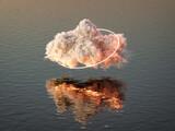 Fototapeta Przestrzenne - Cloud with glowing mystical neon beam