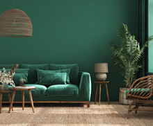 Home Interior Background With Green Sofa, Table And Decor In Living Room, 3d Render