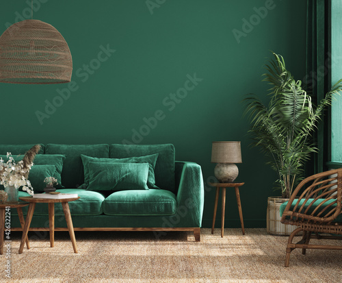 Obraz premium Home interior background with green sofa, table and decor in living room, 3d render