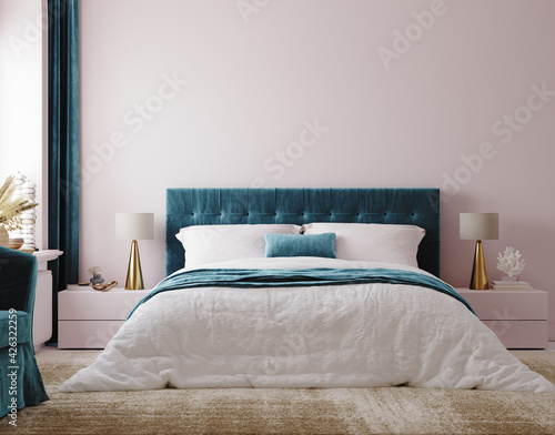 Photographie Luxury bedroom interior background, 3d render