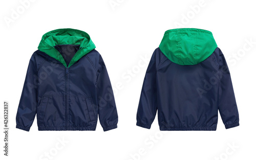 Kid's blue with green jacket. Front and back view Fotobehang