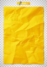 Texture De Papier Jaune Froissé Vectorielle Sur Fond Transparent