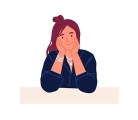 Young smiling curious person peeking from behind wall and looking outside. Portrait of peaceful woman peeping and watching for smth. Flat vector illustration of staring people isolated on white