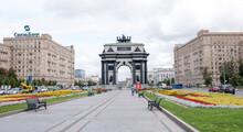 Along Kutuzovsky Prospekt Moving Cars And Pedestrians