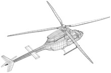 Helicopter Air Machine. Wire-frame EPS10 Format. Vector Created Of 3d, Wire-frame.