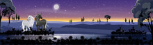 Panorama Landscape In Winter Night With Full Moon, Misty Covered Wavy Mountains With Unicorn And Reindeers Family Standing By The Lake, Beautiful Landscape View For Holiday Background
