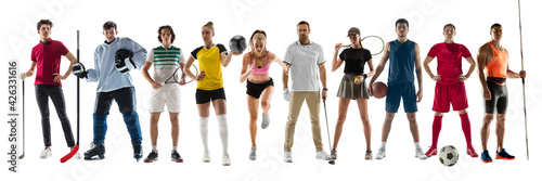Fototapeta Collage of different professional sportsmen, fit people in action and motion isolated on white background. Flyer. obraz