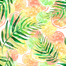 Watercolor Painting, Vintage Seamless Pattern - Tropical Fruits, Citrus, Slices Of Lemon, Orange,  Grapefruit. Tropical Leaves. Palm Leaf. Pattern Of Mandarin, Orange, Citrus Leaves