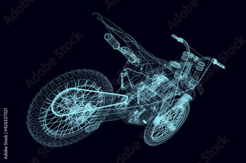 Papel de parede Wireframe of a sports bike from blue lines on a dark background