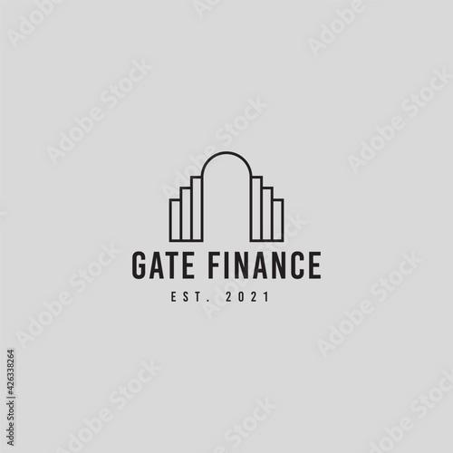 Fotografie, Obraz Gate and financial logo icon design illustration