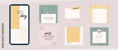 Instagram social media story feed template. minimal background layout mockup in pastel pink yellow color with abstract shapes. for beauty, cosmetics, fashion, spa, food. light spring summer vector