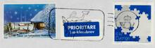 Briefmarke Stamp Gestempelt Used Frankiert Cancel Vintage Retro Alt Old Slogan Winter Schnee Snow Priority Schweden Sweden Sverige Blau Blue Slogan Werbung Mann Fisch Man Fish