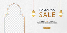 Ramadan Sale Elegant Discount Banner Template Promotion Design For Business. White And Gold Background