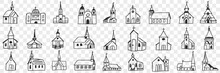 Church Facades With Towers Doodle Set. Collection Of Hand Drawn Various Facades Of Religious Churches Buildings Isolated On Transparent Background