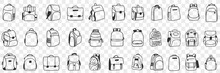 Casual Backpacks Accessories Doodle Set. Collection Of Hand Drawn Various Styles Of Backpack Bags Accessories For Casual Everyday Outfit Wearing Fashion Isolated On Transparent Background