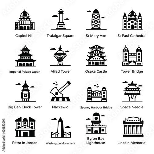 Fotografie, Obraz Solid Icons of Famous Landmarks Pack