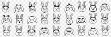 Rabbit Faces Expressions Doodle Set. Collection Of Hand Drawn Various Positive And Negative Expressions Of Rabbit Animals Faces Muzzles Isolated On Transparent Background
