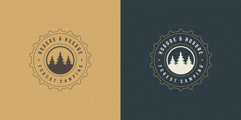 Forest camping logo emblem outdoor adventure vector illustration pine trees silhouette