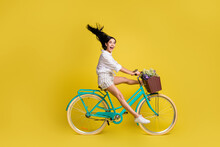 Full Size Profile Side Photo Of Young Charming Lovely Girl With Flying Hair Riding Bicycle Isolated On Yellow Color Background