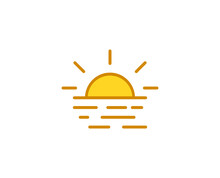Sunset Premium Line Icon. Simple High Quality Pictogram. Modern Outline Style Icons. Stroke Vector Illustration On A White Background.