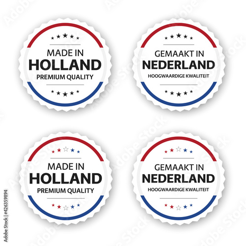 Obraz Set of four Dutch labels. Made in Holland In Dutch Gemaakt in Nederland. Premium quality stickers and symbols with stars. Simple vector illustration isolated on white background - fototapety do salonu