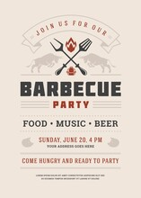 Barbecue Party Invitation Vector Flyer Or Poster Design Template